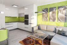 Návrh interiéru bytu 2+kk v novostavbě / Investor si přál moderní bílou kuchyň oživenou výraznou barvou.