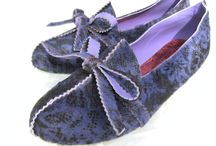 Violet / Hair-on and printed violet cow hide. Lined in lilac kid skin with bright green leather soles.