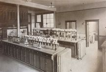 Historical Laboratories / Images from our book collection of chemical laboratories evolving from makeshift rooms with a furnace to fully equipped institutions.