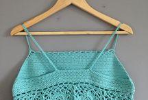 crochet biquinis, shorts, calças, top