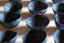 Installation / ''Blue mirror''/an indigo paper bowl installation/ artproject about water & air (paper;fine raphia palm) Leni Dedert
