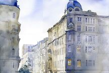 ulice,domy,miasta - akwarele