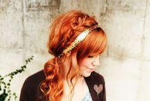 red hair and bangs