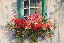 akwarele budynki i kwiaty