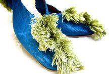 Beth / Blue bison skin with vintage sea green silk Scalamandre trim.