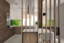 nowoczesna kuchnia / modern kitchen / projekt nowoczesnej kuchni, ażurowa ściana z drewna, zieleń w kuchni, wyspa kuchenna, nowoczesna zabudowa