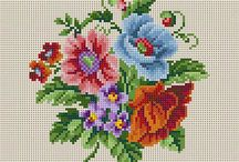 Σταυροβελονιά - Λουλούδια