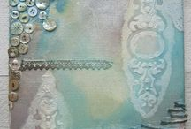 Collage / paint / decopage / Maling, lerret, krakelering