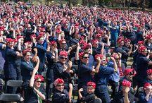Sisters as Rosie the Riveter for the World Record! / Many members of Sisters on the Fly participated in the largest gathering of people dressed as Rosie the Riveter, bringing the spirit of the lady to the event!  / by Official Sisters On The Fly