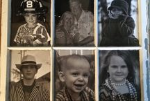 Old Window Frame / Photo's of the Us & Our Grandkids in Black & White in Old Window / by Toni Smelley