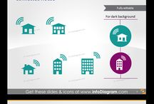 Connected Home - Internet of Things / Internet of Things graphics library for creating a presentation on Connnected Home topic. Using only PowerPoint or Keynote, you can easily draw a connected home with all IoT equipment, create a diagram illustrating any IoT process, structure, IT system communication flow.
