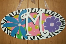 Kids Hand Painted Door Hangers / Hand painted door hangers with childrens names or initialsl.  These are great for baby showers, hospital door birth announcements or just to add to your childs  room decor.