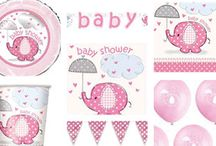 Baby Shower - Pink Umbrellaphants / Pink scrapbook design elephants with a cute twist. These elephants are just perfect for your girls baby shower as they are so adorable with their very unique pattern and little polka-dot umbrella's.