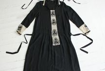 1920s black dresses and white collars / 1920s black and white: from black silk afternoon dresses to black working outfits to maid uniforms, as well as white lace collars and cuffs