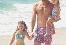 98 COAST AV FAMILY / father, daughter and son equal beachwear. fashion linked with family