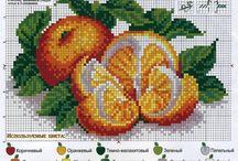 Cross stitch - oranges and tangerines