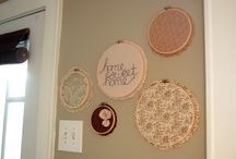embroidery hoops wall display