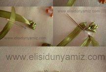Вышивка листьев из лент