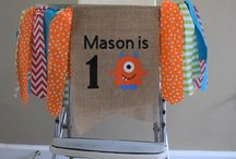 First Birthday Banners / Handmade fabric highchair and wall banners with customized burlap pennant from my Etsy shop, Madsy Bella Boutique