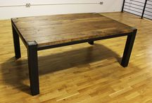How to make an industrial dining table / Showcasing industrial style dining tables made from solid oak and steel.