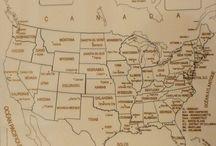 Puzzle géographique artisanal Carte des Etats Unis