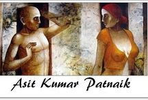 ⊱ Asit Kumar Patnaik ⊰  / ≻ Asit Kumar Patnaik ~ Orissa, 1968≺ A semi realistic painter his narratives revolve around partly clad men and women engrossed in their emotions. Human psyche and interpersonal relationships of people in society, is the underlying theme that engages the artists interest. Marked for its seductive look his figuration appears dramatic and harmonious in bold colours.