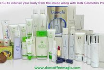 DXN Cosmetics Products Family / Real beauty shines from the inside. Do not use cosmetics to cover up certain skin issues. Get to the bottom of the problem and treat the real root of the imbalance. Make sure you also use RG, GL, Spirulina, Lion's Mane, Cordypine and Cordyceps to cleanse your body within from toxins and achieve balanced PH.