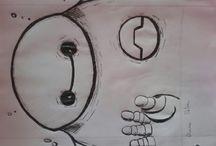 aqui estão desenhos de uma miúda de 13 anos