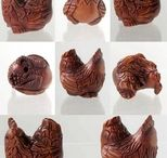 Animal Beads > Bird / Hand Carved Boxwood and Natural Stone Beads.