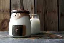 Soy Wax and Wooden Wick Candles / Each candle is dye-free and hand poured in Ohio and packaged with a stamped paper cover with a black rubber band.