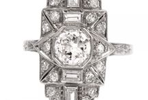 Antique Art Deco Engagement Ring / Antique and Diamond Art Deco Engagement Rings.