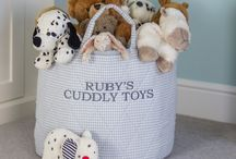 Children's Toy Storage Baskets (can be personalised) / Our 100% cotton quilted children's toy storage baskets are large enough to keep things tidy and clutter free and look stylish in bedrooms or playrooms.  To make them extra special the toy baskets can be personalised with your own name or phrase. The name or phrase will be beautifully embroidered onto one side of the toy basket for example Emily, Emily's Toys, Emily's Bits 'n' Bobs or any other phrase of your choice. Our toy baskets make lovely new born, Christening or birthday gifts.