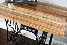 swinger machine / riuso di un tavolo vecchio con macchina da cucire