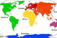 Asia, África. Europa, América. Oceanía y Antártida.