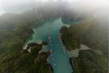 Halong Bay a world's most stunning landscape / The outstanding value of the property is centered around the drowned limestone karst landforms, displaying spectacular pillars with a variety of coastal erosional features such as arches and caves which form a majestic natural scenery.