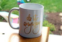 Handlettered Mugs