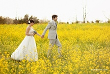 Love / Wedding, Outdoor, Trees, Barn, Rustic, Flowers, Peonies, Kale, Gladiolas, Chamomile, Poppies, Iceland Poppies, Billy Balls, Bouquet, Floral, Dress, Ring, Cake, Dogs, Bow ties, Dessert table, Aqua, Yellow, Peach, Red, Coral  / by Marley Habel
