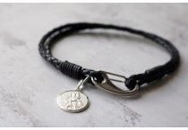 Men's Saint Christopher Bracelets / Personalised Silver and Gold Saint Christopher Medals attached to Braided Leather Bracelets