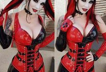 red and black harley quinn cosplay