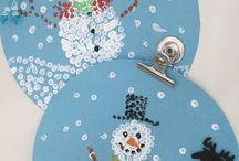 bonhommes de neige coton tige