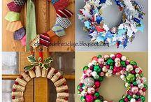 zima a Vánoce - věnce a svícny