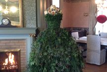 Christmas gowns / Evergreen gowns as holiday decor