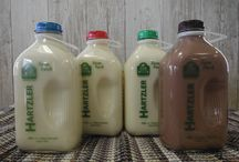 Hartzler's Signature Products / All of our milk products come in 1/2 gallon recyclable glass bottles, and our butter is sold in 2 pound rolls---salted or unsalted.
