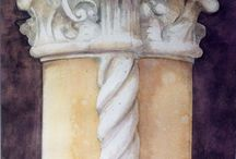 column with watercolor
