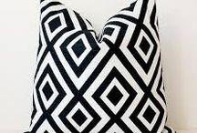 black, white and cream cushions