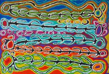 Judy Watson Napangardi - Aboriginal Art / Judy is a senior painter who was born in the Mina Mina area of Warlpiri country, South West of Yuendumu. She is custodian of the Napangardi and Napanangka Mina Mina Dreaming stories, which were passed onto her by her sister and co-wife, Maggie Watson Napangardi. Judy paints various renditions of the travels and ceremonies associated with the travels of these women from Mina Mina to Willowra, north of Yuendumu.
