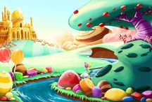 Monsters' Candy Land / Idei: *candy-like landscape *cute ~ wobbly ~ monsters