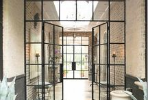 Black metal glass doors