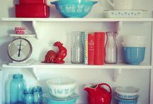 Vintage Aqua Red Kitchen