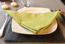 Ma table habillée en chambray / Chaque réception aura son style avec vos nappes chambray que vous décorerez suivant l'envie du moment ou la personne à fêter